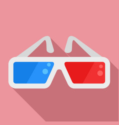 red blue cinema glasses icon flat style vector image
