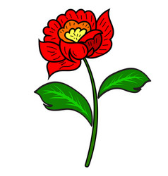 red flower with a stem and leaves vector image