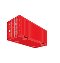 Red shipping cargo container for logistics and vector