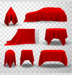 red silk fabric cover set elegant surprise vector image