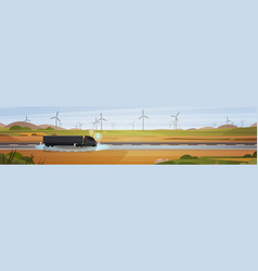Road in countryside with black truck trailer vector