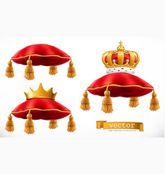 royal pillow and crown 3d icon set vector image