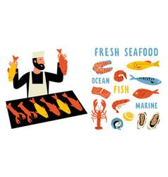 seafood funny doodle set cute cartoon man food vector image