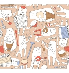 Seamless pattern with musician cats and music vector image
