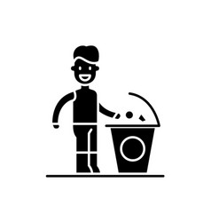 separate trash black icon sign on isolated vector image