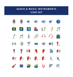 set audio and musical instruments icon vector image