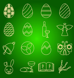 set of icons easter symbols egg angel bell wine vector image