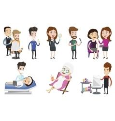 Set of people during beauty procedures vector