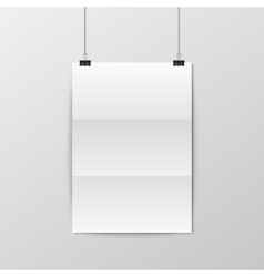 Sheet of folded paper hangs on the clamps vector image