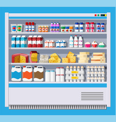 Showcase fridge with dairy products vector