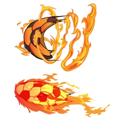 Soccer flying fire vector