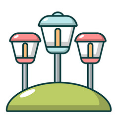 Solar lamps garden light icon cartoon style vector
