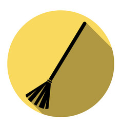sweeping broom sign flat black icon with vector image