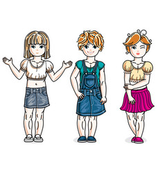 sweet little girls standing wearing fashionable vector image