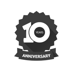Ten years anniversary sticker icon 10th vector image