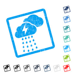 Thunderstorm clouds icon rubber watermark vector