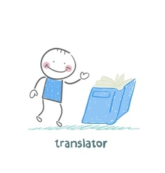 Translator reads a book vector