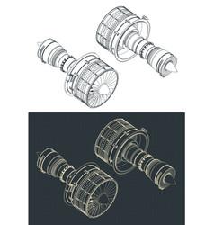 Turbofan engines isometric drawings vector