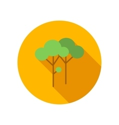 Two trees with green leaves flat icon vector