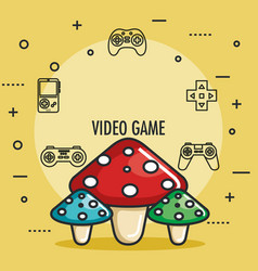 Video game mushrooms entertaining element play vector