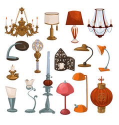 Vintage and retro lamps and lampshades vector