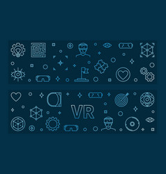 vr blue linear banners virtual reality vector image