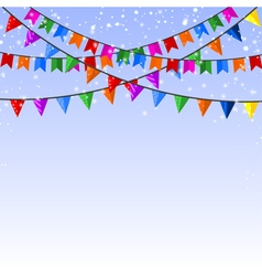 Winter blue background with garland of paper flags vector