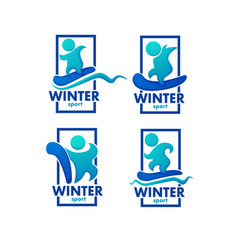 winter sport ski snowboard logo label emblems vector image