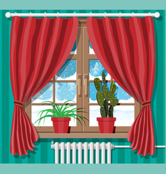 winter window with red curtains view from room vector image