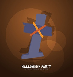 With halloween and graveyard cross vector
