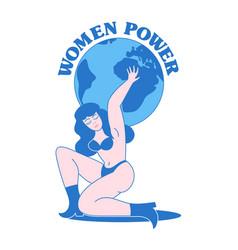 Women power vintage print design vector