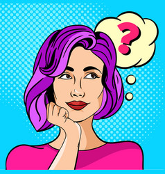 Young girl or woman with a question mark pop art vector