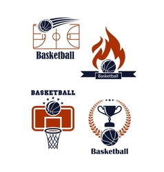 Basketball sport emblems or logos vector image vector image