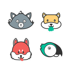 pet icons cute cartoon cat dog hamster and vector image