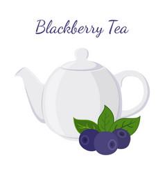 blackberry tea in teapot with berries vector image vector image