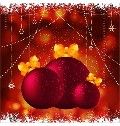 Christmas baubles with bow background vector image vector image