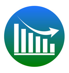 declining graph sign white icon in bluish vector image