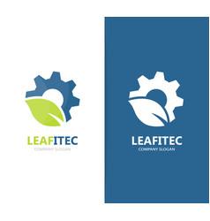 Gear and leaf logo combination mechanic vector