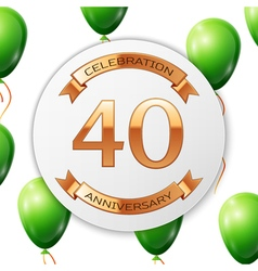 Golden number forty years anniversary celebration vector image vector image