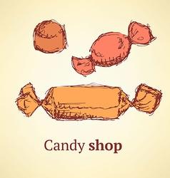 Sketch candies set in vintage style vector image
