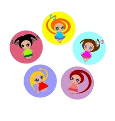 small girls vector image vector image