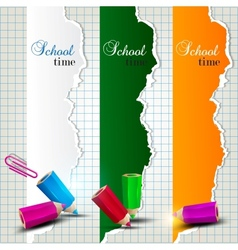 Torn paper banners with space for text School time vector image vector image
