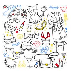 woman beauty fashion hand drawn set clothes vector image
