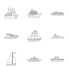 Boat icons set outline style vector image vector image