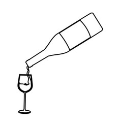 bottle wine pouring glass cup line image vector image