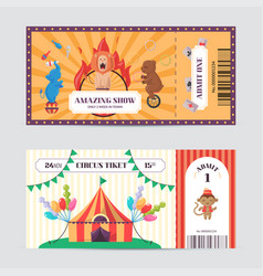 circus ticket design template amazing show with vector image vector image