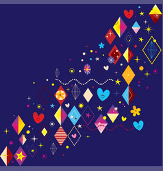 hearts stars flowers and diamond shapes design vector image