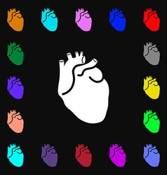 Human heart icon sign Lots of colorful symbols for vector image