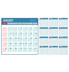 monthly calendar template 2018 year vector image