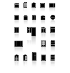 set black windows with reflection vector image